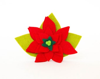 Christmas Dog Collar Flower - Red Poinsettia