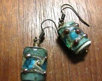 MURANO AQUA Lampwork Earrings