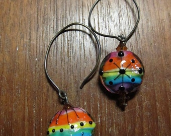 GAY PRIDE RAINBOW Earrings Colorful Murano Glass Lampwork Earrings LoveWins Purple Blue Green Pink Yellow Orange Black by SusanHeleneDesigns