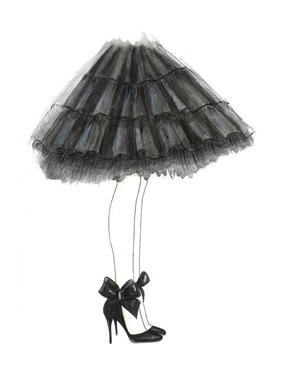 Watercolor Black Tulle Skirt and Bow Shoes Fashion Illustration- Black and White Fashion Sketch Print-  Teen Wall Art- Girls Room Decor