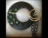 Shawl Pin: Turquoise on Black with Attached Handmade Sterling Pin
