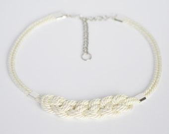 Shiny ivory cream knotted adjustable nautical rope necklace
