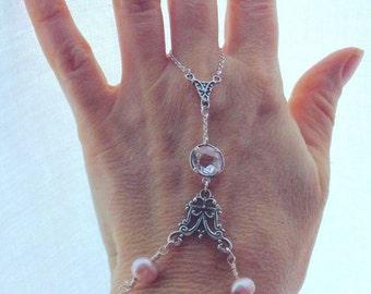 Hand Jewelry, fairy bracelet, Slave Bracelet, Handflower, Handflower Bracelet