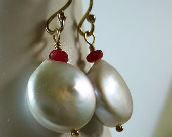 Silver coin pearl and red ruby gold drop earrings,pearl and ruby,coin pearl,pearl drop earrings, pearl earrings,wedding jewelry