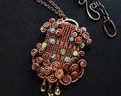 Woven Copper Pendant with Peridot Apatite Citrine Spirals