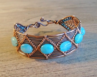 Aqua & Copper Diamond Weave Cuff Bracelet