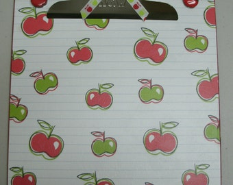 APPLES Red and Green Altered Clipboard 9x12 Letter size for School or Teacher Gift