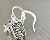 Bali earrings sterling silver flowers, filigree blackened silver botanical earrings gifts for her