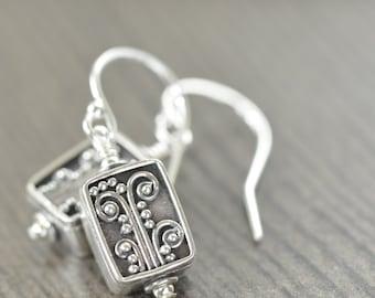 Valentine's Day gift Bali earrings sterling silver flowers, filigree blackened silver botanical earrings