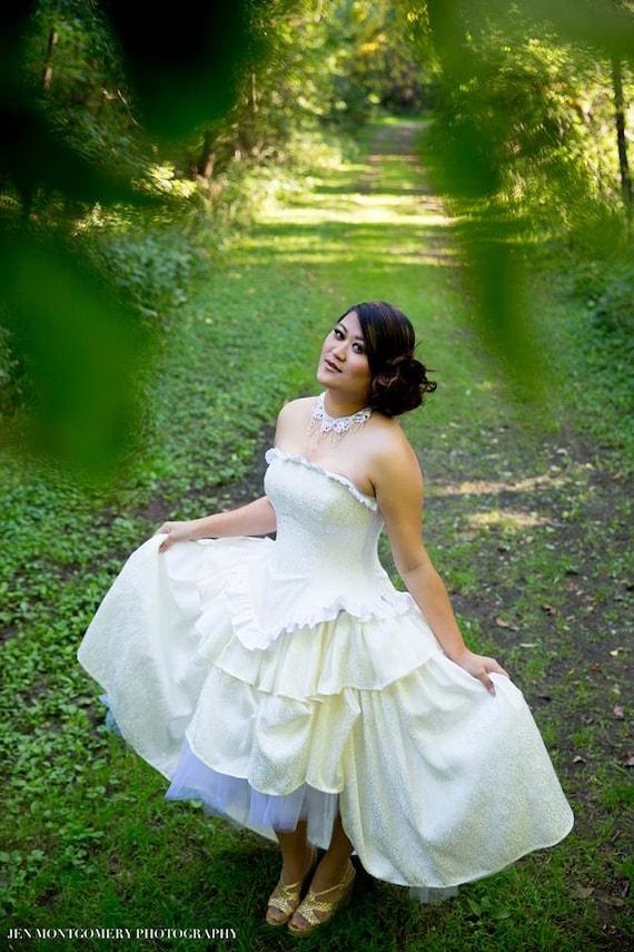 Items similar to sample white hi low wedding dress for Wedding dress fabric samples
