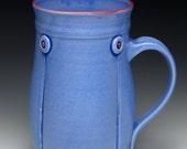 Blue handmade ceramic coffee mug, wheel thrown mug, Periwinkle Blue Button Mug, 12oz
