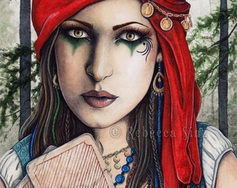 Fortune Teller ORIGINAL Painting Gypsy Fantasy Art
