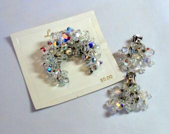 Vintage Laguna Aurora Borealis Crystal Brooch Earrings Set Crescent Moon Pin Waterfall Clips