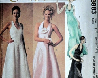 McCall's 3883 Evening Elegance Sewing Pattern, Misses' Lined Dresses, Sizes 16-18-20-22, Bust 38-40-42-44, Factory Folded