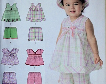 Simplicity 2625 Sewing Pattern, Babies' Top In Two Lengths, Shorts In Two Lengths And Hat, Sizes XXS to L, Factory Folded