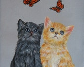 Tabbies & Monarchs, original painting