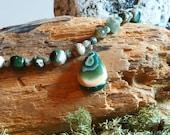 Ocean Jasper Beaded Necklace with Teardrop Pendant