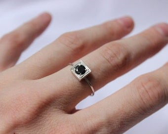 Little Stacking ring with lab created gem in black color,  Round Stone Shape, Sterling silver, Custom Ring,  Bridesmaid gift