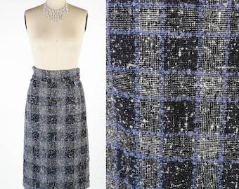 SALE - Vintage 50s Skirt // 1950s Skirt // Plaid Skirt // Tweed Skirt - sz S - 26 Waist