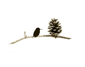 Whimsical Bird Art Print Sepia Pinecone Silhouette Woodland Decor