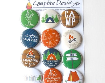 CAMPING Flair Buttons or Badges for scrapbooking-TENT or CAMP theme