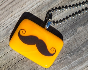 Fused Glass Pendant - Mustache - yellow orange