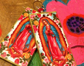 Our Lady of Guadalupe Earrings - floral