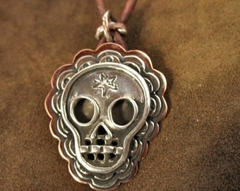 Gorgeous Layered sugar skull pendant - Handmade Original in sterling silver and copper - on leather cord