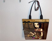 Steampunk Poe tote bag, Jasmine Becket Griffith, book tote, large purse, canvas tote, shoulder bag