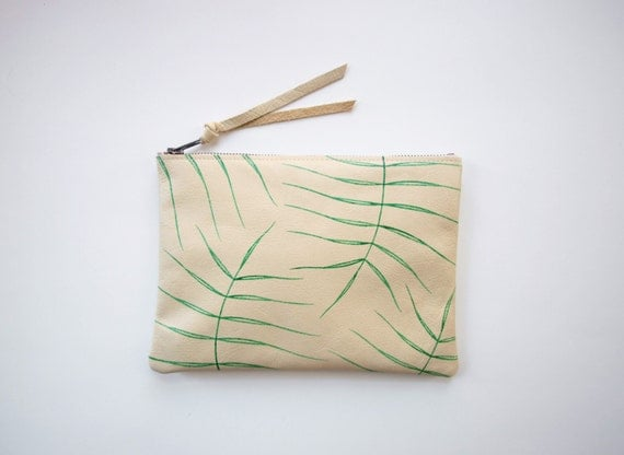 Wild Fern Leather Zipper Clutch
