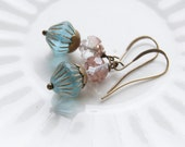 Mary - rose and aqua beaded earrings