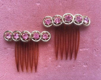 Vintage Set Pair of Hair Combs Sparkling Pink Rhinestone Formal Wedding Prom