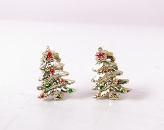 Vintage Gold Christmas Tree Clip On Earrings