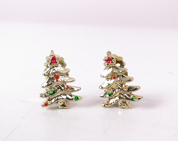 Vintage Christmas Trees - Vintage Gold Christmas Tree Clip On Earrings - Holiday Earrings