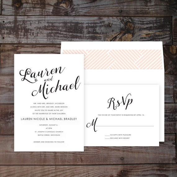 Modern Calligraphy Wedding Invitations : Modern Calligraphy Wedding Invitation, Pink, Blush, Formal, Elegant ...