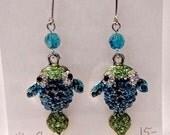 Rhinestone, crystal, shiny, sparkly, fish dangle pierced or clip earrings