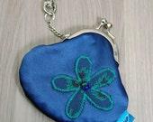 Mini Treasures Purse - Clip Frame - Blue - Green - Flower -  Lobster Clasp - Bus Change - Parking Money - Gift