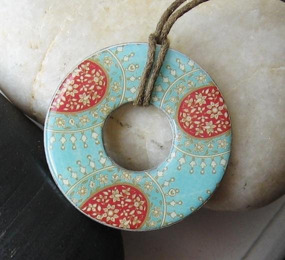 Stunning Aqua Blue and Red Sienna Taj Majal Designer Washer Hardware Pendant Necklace