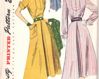 1940s Simplicity 3059 Misses Inverted Front Pleat DRESS Pattern Wing Cuffs Flared Skirt Womens Vintage Sewing Pattern Size 16 Bust 34 UNCUT