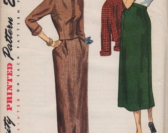Simplicity 2987 1940s Misses Straight Skirt and Fitted Spencer Jacket Pattern Suit Womens Vintage Sewing Pattern Size 16 Bust 34 UNCUT