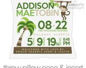Birth announcement pillow new baby gift jungle monkey custom throw pillow with pillowcase
