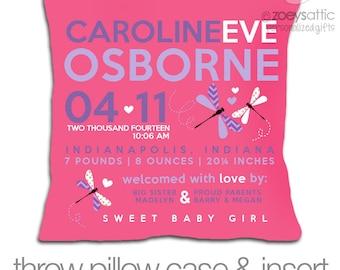 Birth announcement throw pillow dragonfly custom DARK fabric pillowcase with pillow