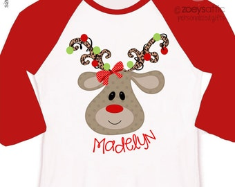 personalized Christmas shirt girls reindeer - perfect my first christmas shirt as well toddler reindeer shirt custom christmas