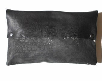 076 Black Leather & Artist's Canvas Clutch Bag , Made in Brooklyn