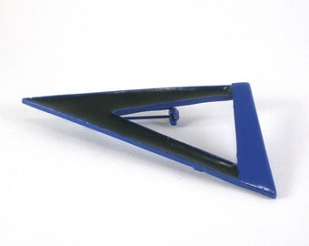 Enamel Geometric Triangle Brooch Pin Black Cobalt Blue Vintage Jewelry