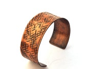 Crosshatch Copper Cuff, Hammered Copper Bracelet, Rustic Jewelry