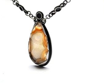 Druzy Necklace, Agate Druzy and Sterling Silver Necklace, Oxidized Silver and Druzy Statement Necklace, Druzy Jewelry
