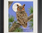 Owl Tree with Great Horn Owl- archival watercolor print by Tracy Lizotte
