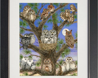 Owl Tree- archival watercolor print by Tracy Lizotte