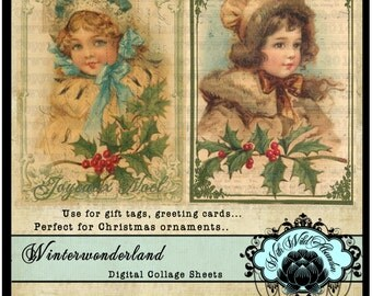Christmas Gift Tags, Vintage Winter, Victorian Christmas, Vintage Printable Gift Tags, Victorian Postcards, ATO or ATC Size